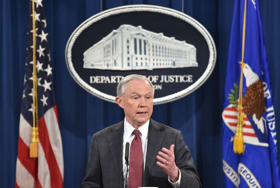 Attorney General Jeff Sessions speaks to the media after reports surfaced that he met with Russia's ambassador to the U.S. during the election campaign. Photo: NICHOLAS KAMM, AFP/Getty Images