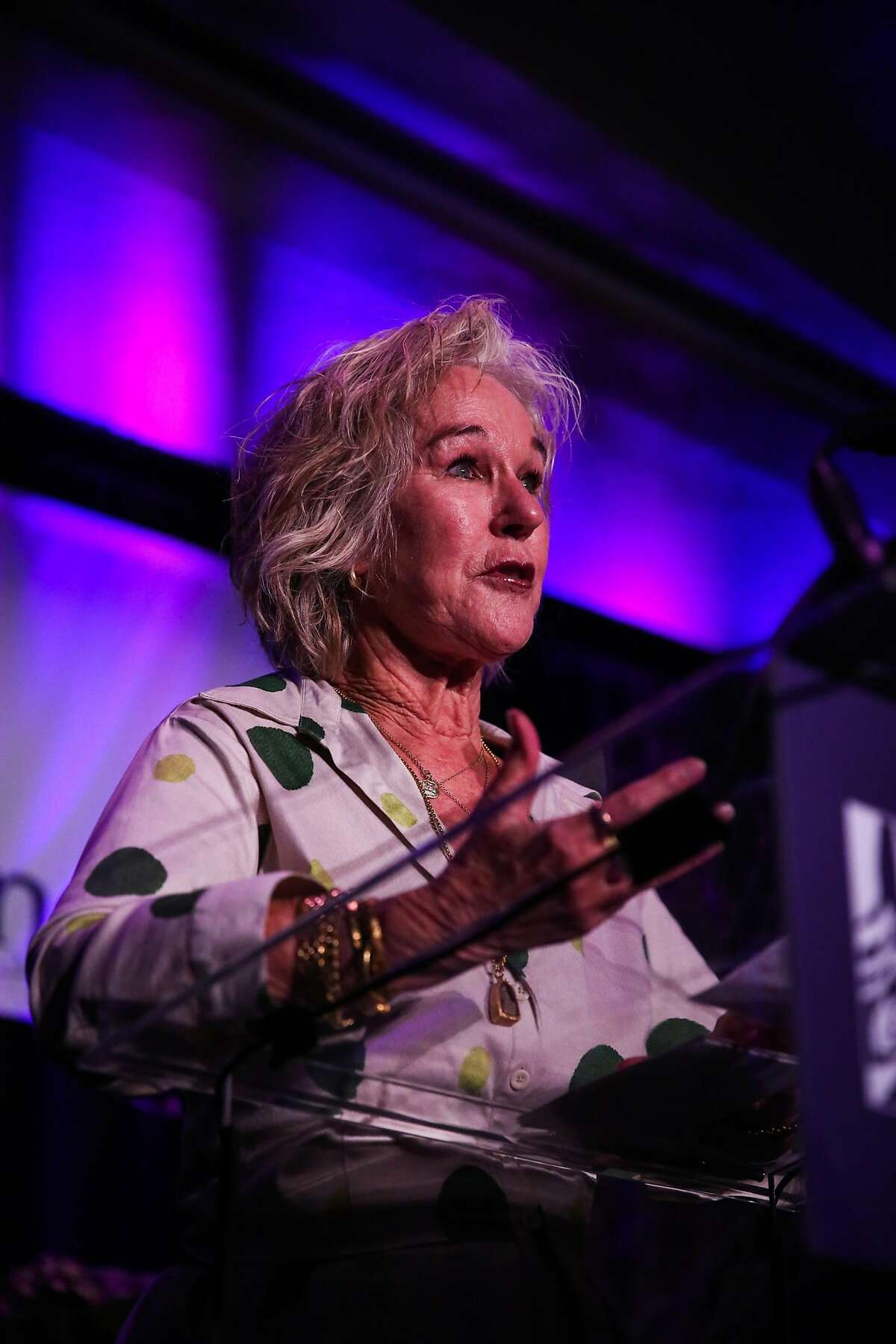 Susie Tompkins Buell speaks at the Naral Pro-Choice America 22nd Power of Choice Luncheon at the Fairmont Hotel in San Francisco, California, on Thursday, March 2, 2017.