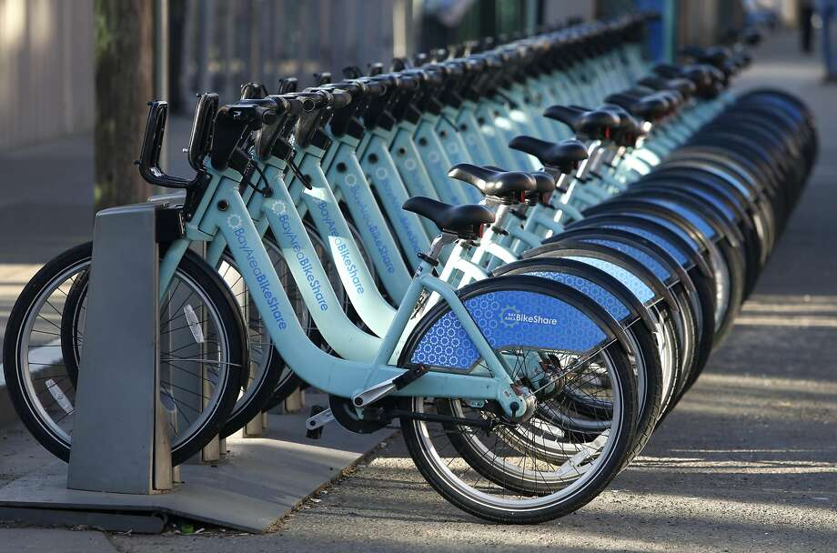 Bicycles are docked at a Bay Area BikeShare station at the Caltrain depot in San Francisco, Calif. on Thursday, March 2, 2017. A study reports that San Francisco is one of the worst big cities for bike-sharing. Photo: Paul Chinn, The Chronicle