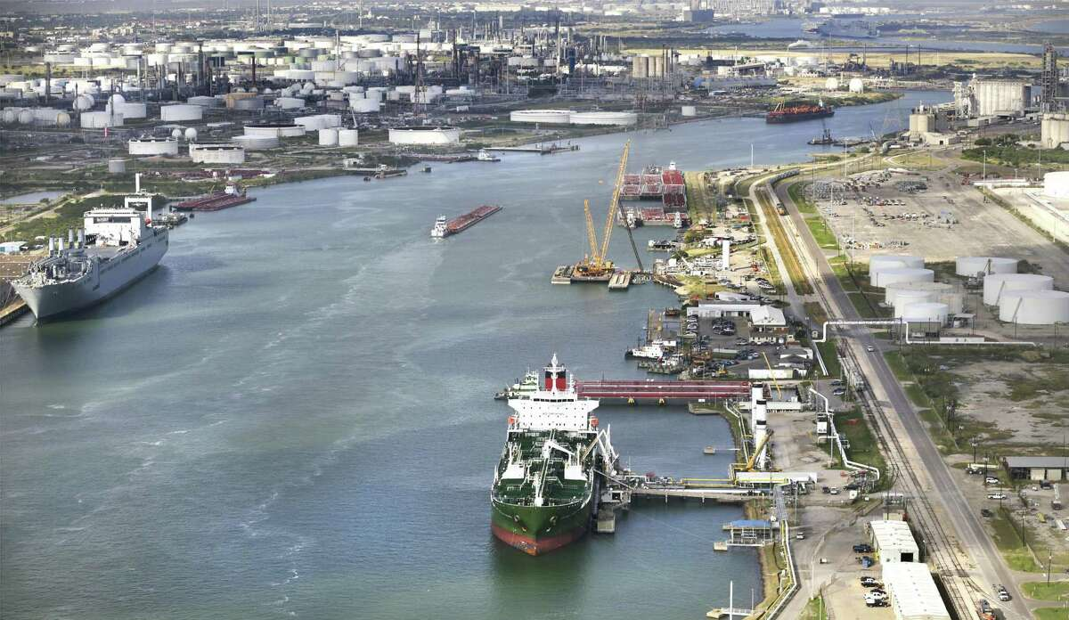 A ship is loaded at Port Corpus Christi. Increased crude oil volumes from West Texas' Permian Basin and South Texas' Eagle Ford Shale have pushed increased volumes to Corpus Christi.