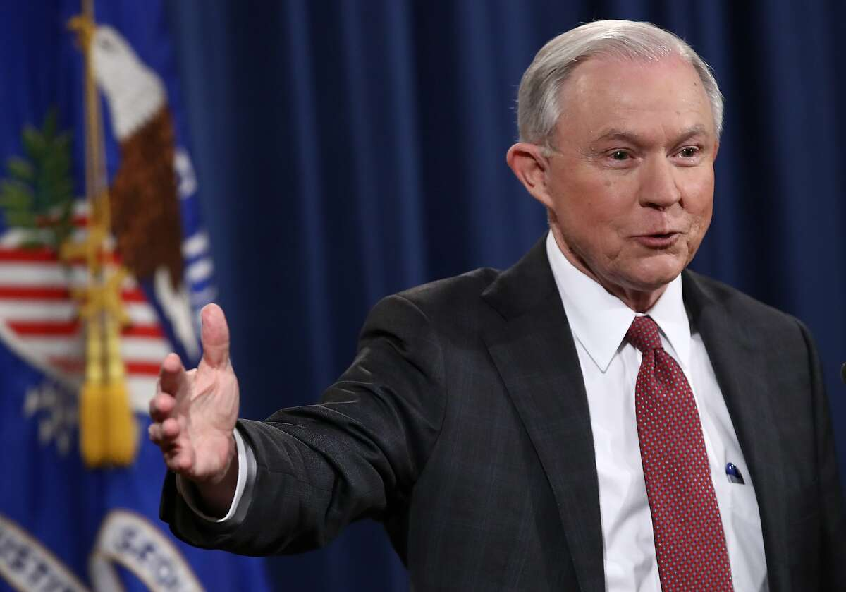 U.S. Attorney General Jeff Sessions answers questions during a press conference at the Department of Justice on March 2, 2017, in Washington, D.C.
