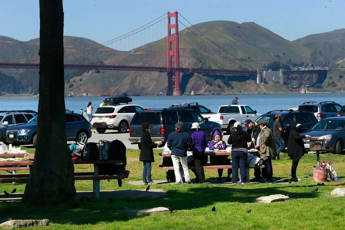 Visitors enjoy the picnic area at the east end parking lot area at Crissy Field in San Francisco, Ca. on Thurs. March 2, 2017. Major renovations to the park are about ready to begin.