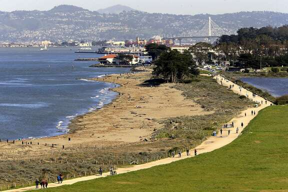 The gravel pathway runs along the entire length of the park, at Crissy Field in San Francisco, Ca. on Thurs. March 2, 2017. Major renovations are about ready to begin at the park.