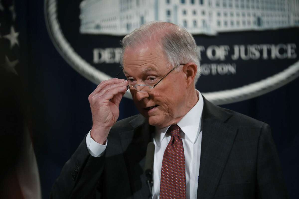 Attorney General Jeff Sessions during a news conference at the Department of Justice in Washington, March 2, 2017. Sessions announced his recusal from overseeing an investigation into contacts between the Trump campaign and the Russian government. (Doug Mills/The New York Times)