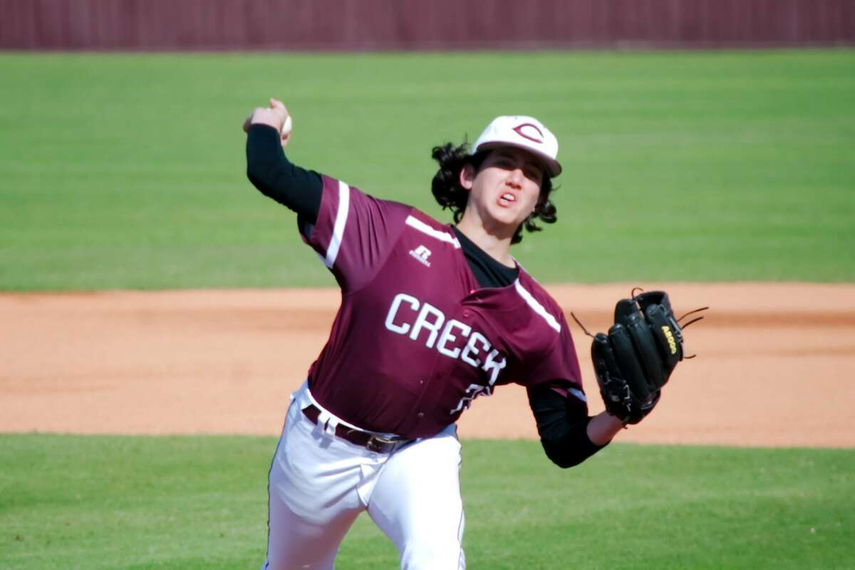 Clear Creek's Gehrig Haslam (20) pitches against Second Baptist Thursday, Mar. 2 at Clear Creek High School.