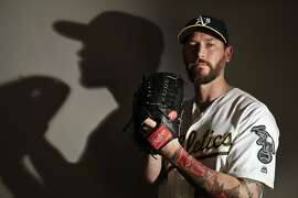 This is a 2017 photo of relief pitcher John Axford of the Oakland Athletics baseball team poses for a portrait. This image reflects the Athletics active roster as of Wednesday, Feb. 22, 2017, when this image was taken. (AP Photo/Chris Carlson)