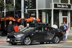 An UBER self-driving car at the corner of 3rd and Mission Streets in San Francisco, Ca. on Wed. March 1, 2017.