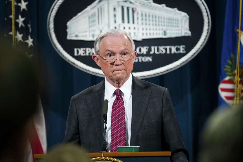 Attorney General Jeff Sessions during a news conference at the Department of Justice in Washington on Thursday. Sessions announced his recusal from overseeing an investigation into contacts between the Trump campaign and the Russian government. Photo: DOUG MILLS /NYT / NYTNS