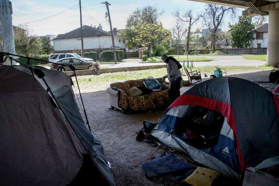 "A man who calls himself ""Mr. Wheeler Station"" lives under a U.S. 59 overpass near downtown."