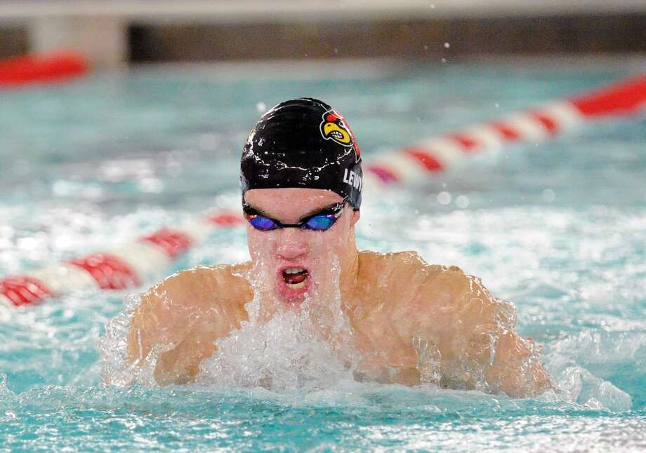Aedan Lewis of Greenwich swims the breaststroke leg of the 200 medley relay event during the FCIAC Boys High School Swimming Championships at Greenwich High School on Thursday night. Greenwich placed first as a team. Photo: Bob Luckey Jr. / Hearst Connecticut Media / Greenwich Time