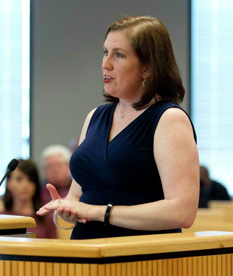 Melanie Bush, Conroe ISD board President addresses members of the Montgomery County Commissioners Court about school funding at the Alan B. Sadler Commissioners Court Building Tuesday, Feb. 28, 2017, in Conroe. Photo: Jason Fochtman, Staff Photographer / © 2017 Houston Chronicle