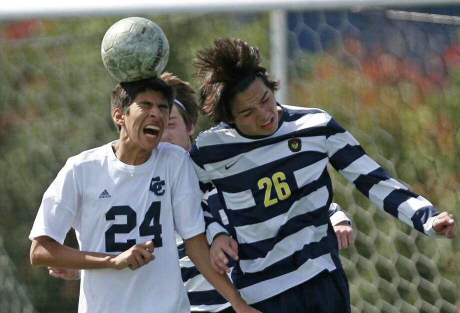 during the TAPPS Division I state semifinal high school soccer game between Central Catholic and Plano Prestonwood at Benson '66 Stadium on March 2, 2017. Photo: Ron Cortes, Freelance / For The San Antonio Express-News / Ronald Cortes / Freelance
