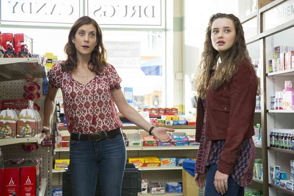 "Kate Walsh, left, and Katherine Langford in a still from Netflix's ""13 Reasons Why."""