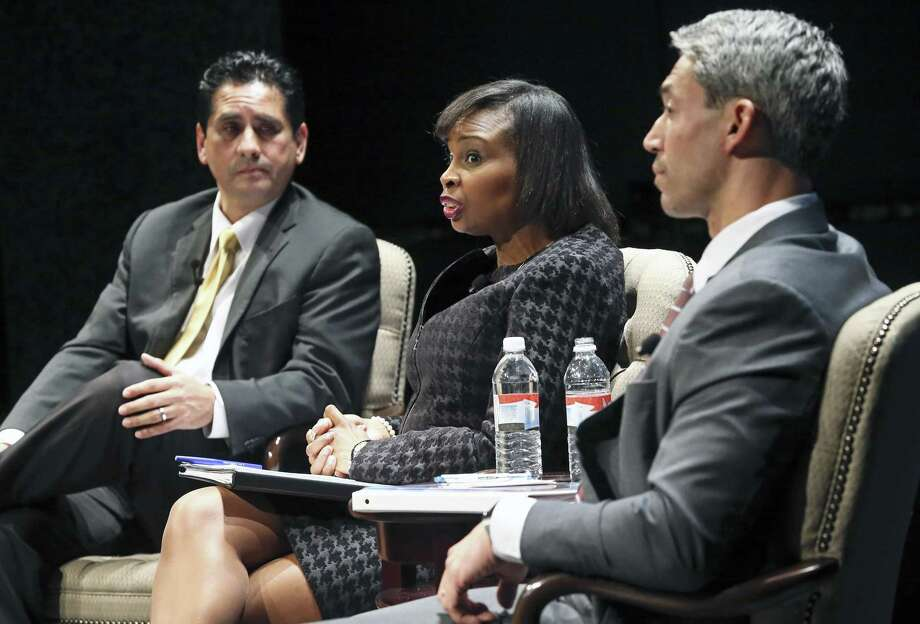 Manuel Medina (left to right) Ivy Taylor and Ron Nirenberg contend as mayoral candidates debate on stage at the Tobin Center during the Hispanic Chamber Mayoral Debate moderated by Steve Spriester on March 2, 2017. Photo: Tom Reel, Staff / San Antonio Express-News / 2017 SAN ANTONIO EXPRESS-NEWS