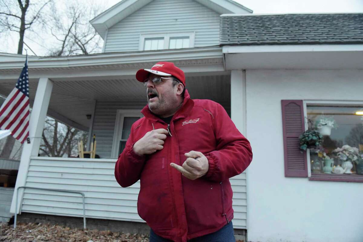 Landlord George Moss outside his property, talks to a reporter on Tuesday evening, Feb. 28, 2017, in Glens Falls, N.Y. (Paul Buckowski / Times Union)