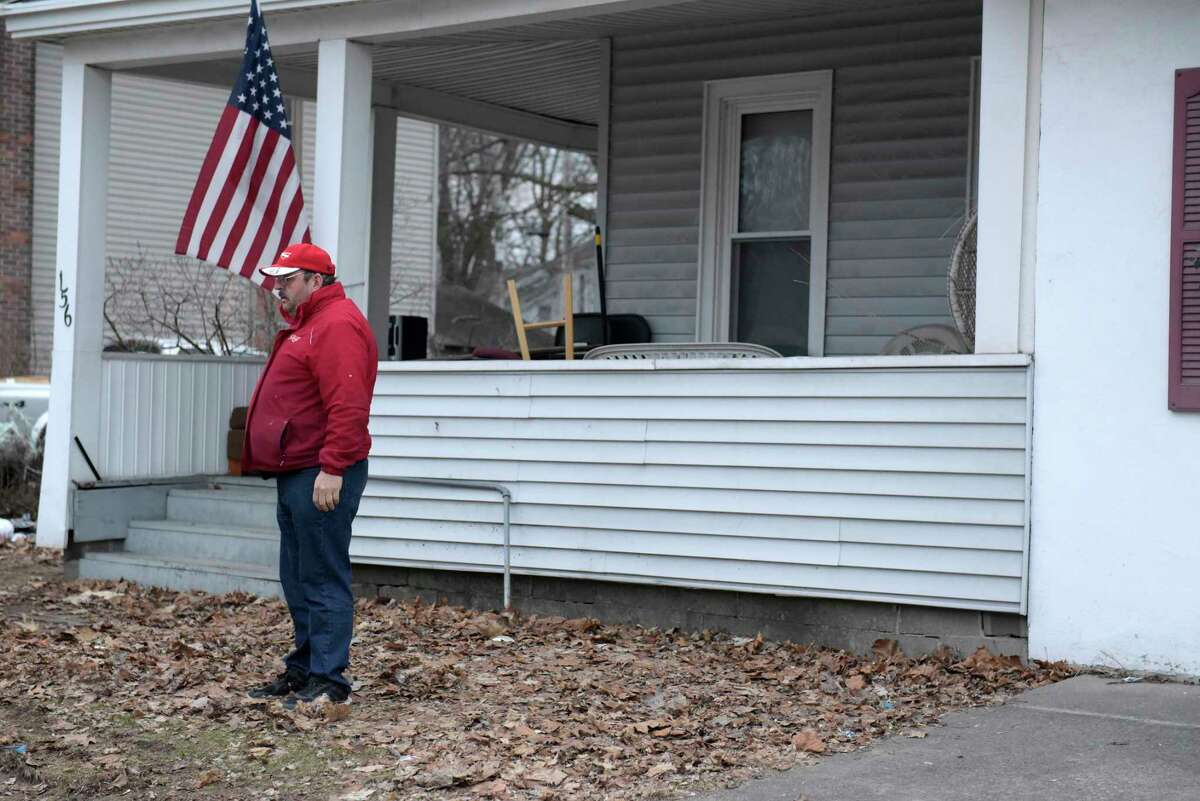 Landlord George Moss outside his property on Tuesday evening, Feb. 28, 2017, in Glens Falls, N.Y. (Paul Buckowski / Times Union)