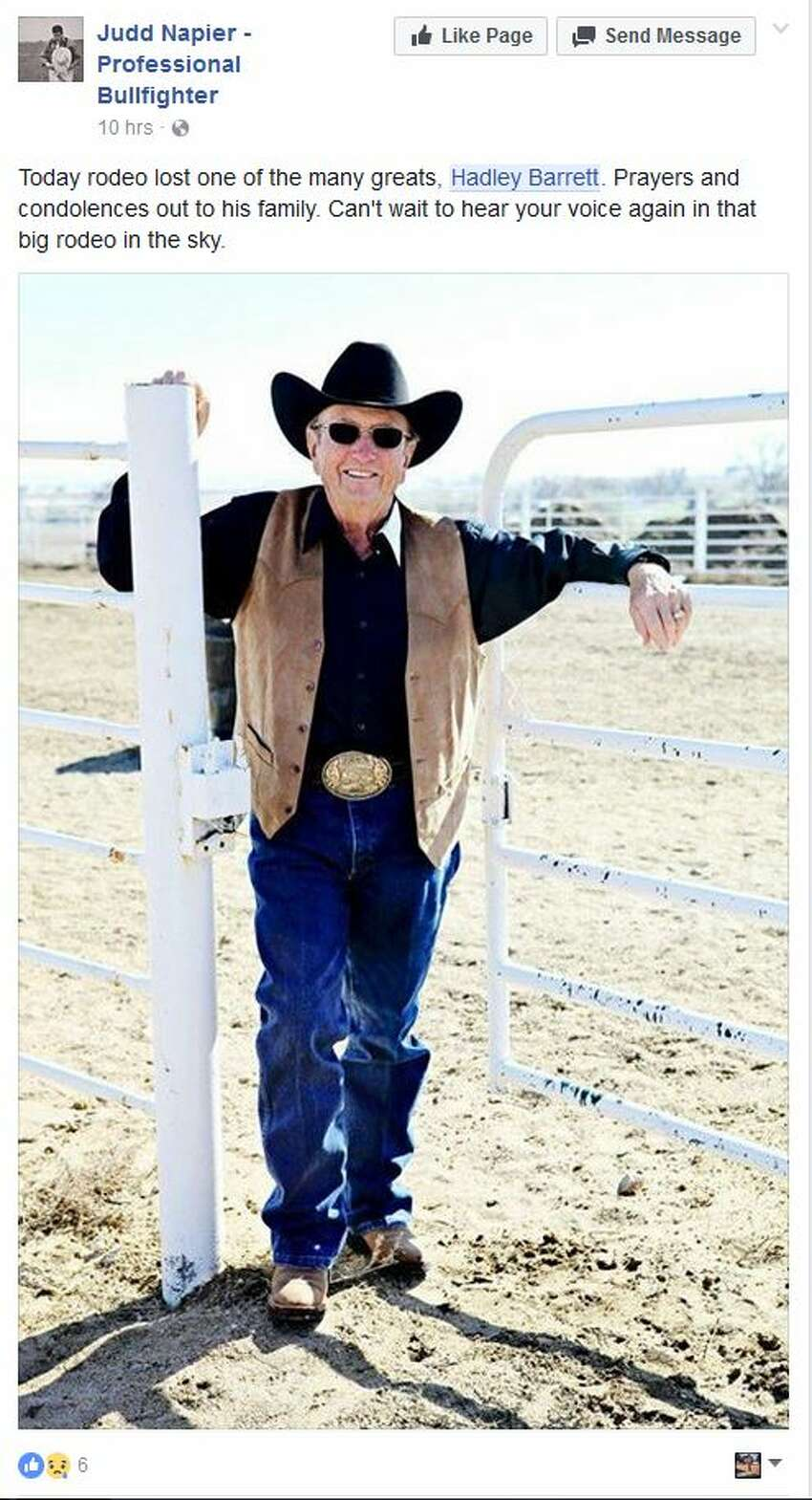 Today rodeo lost one of the many greats, Hadley Barrett. Prayers and condolences out to his family. Can't wait to hear your voice again in that big rodeo in the sky.