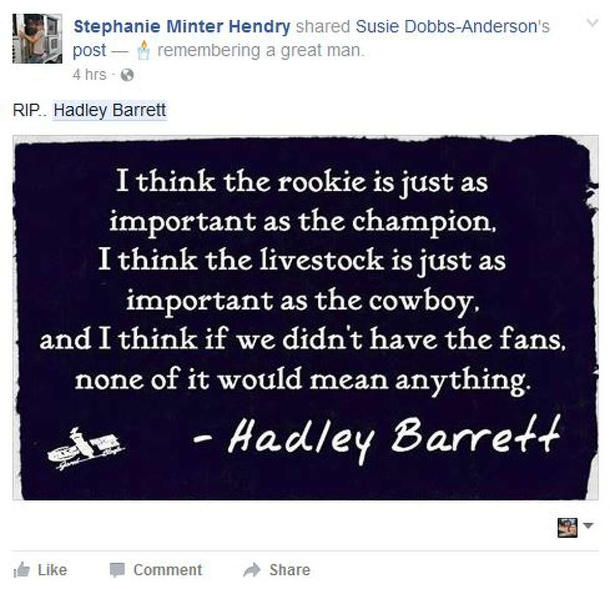 Tributes called Hadley Barrett the voice of rodeo and the greatest announcer of all time. Barrett also the revered announcer of the San Antonio Stock Show & Rodeo died Thursday in Colorado at age 87.