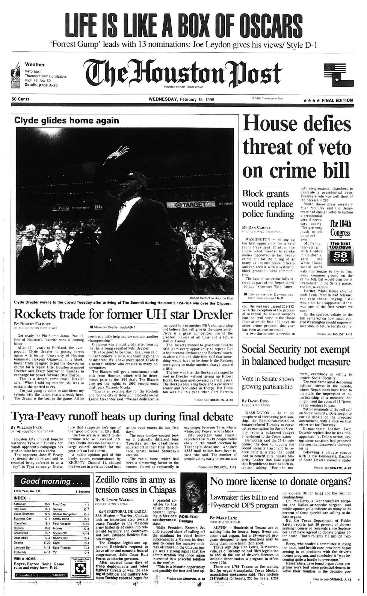Houston Post front page - February 15, 1995 - section A, page 1. Clyde glides home again. Rockets trade for former UH star Drexler.