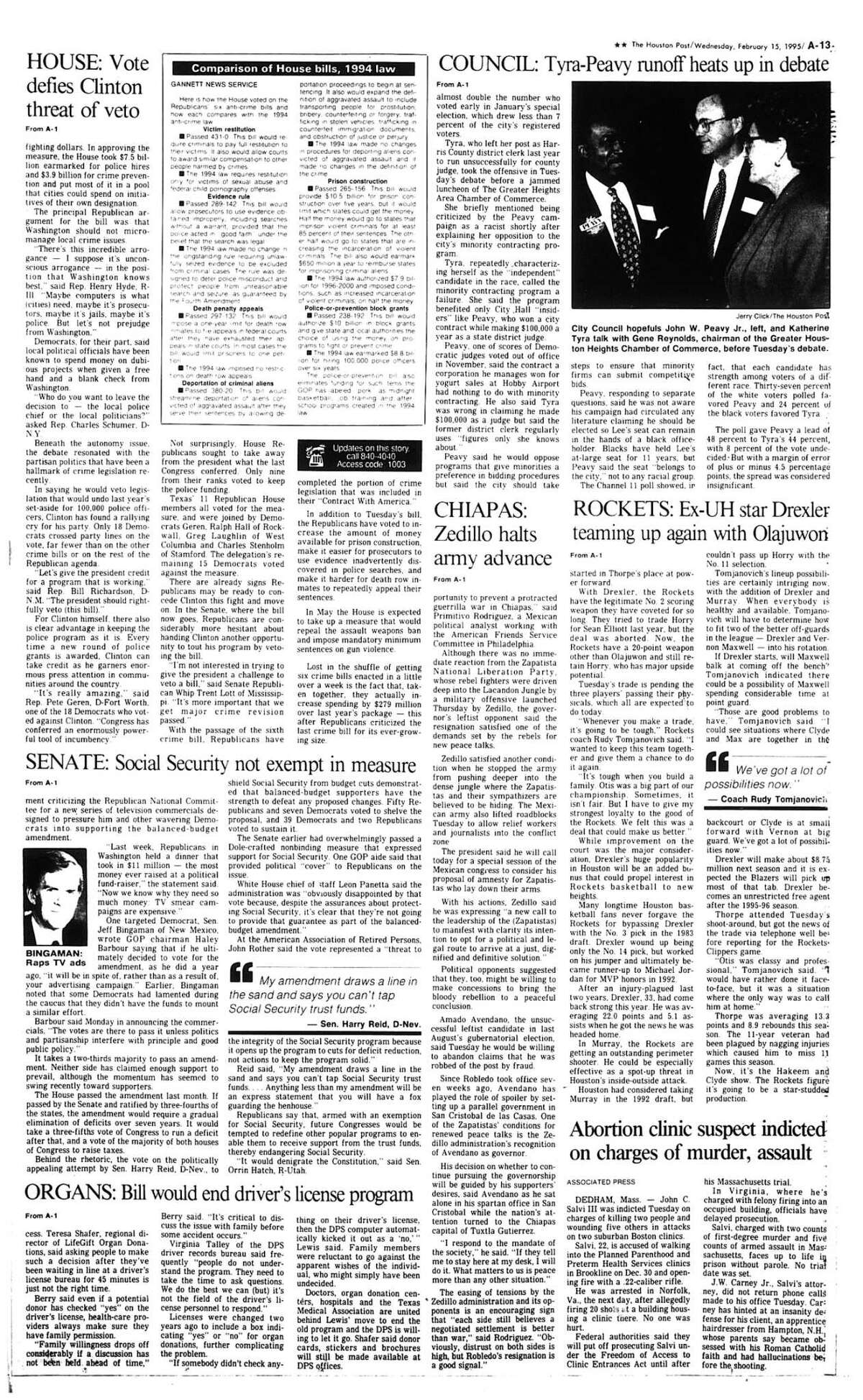 Houston Post inside page Â?- February 15, 1995 - section A, page 13. ROCKETS: Ex-UH star Drexler teaming up again with Olajuwon