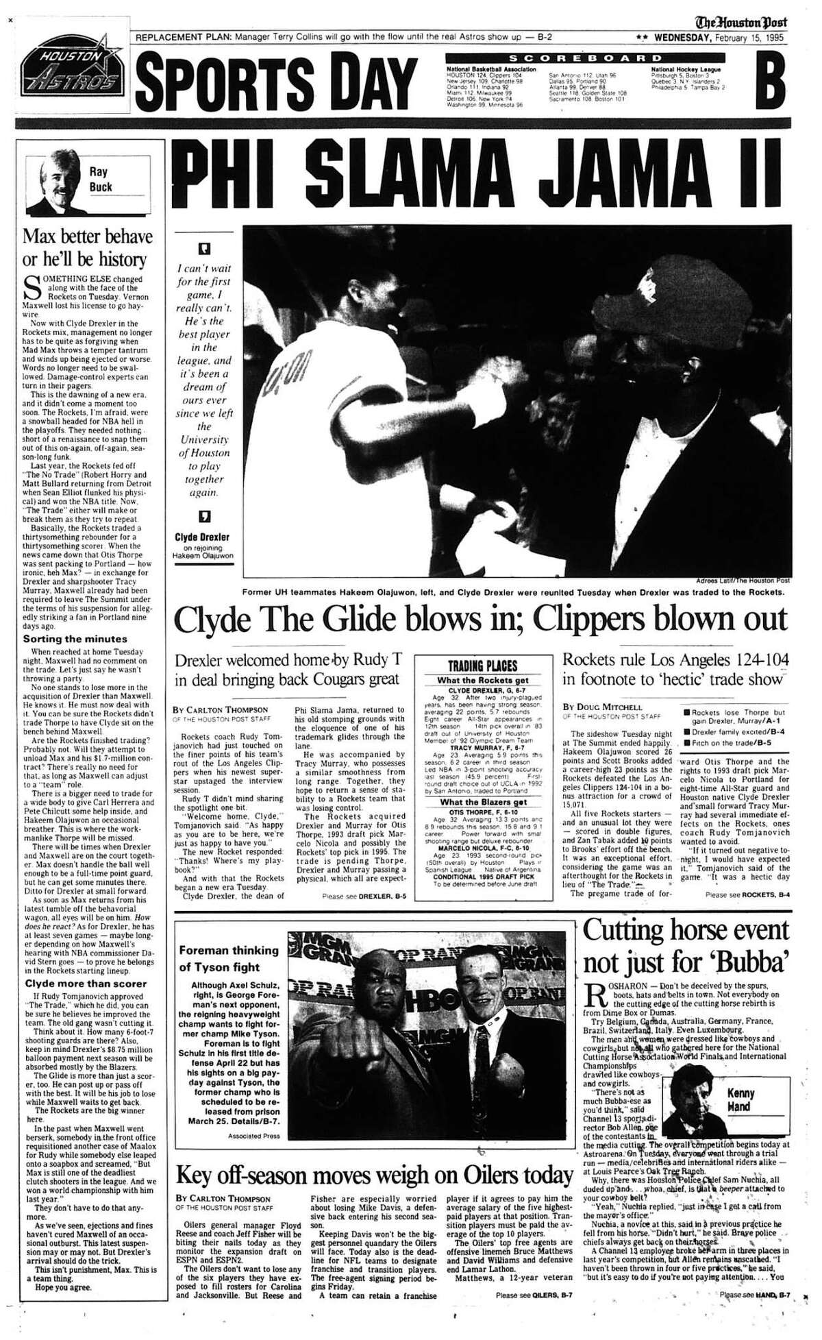 Houston Post inside page Â?- February 15, 1995 - section B, page 1. PHI SLAMA JAMA II Clyde The Glide blows in; Clippers blown out