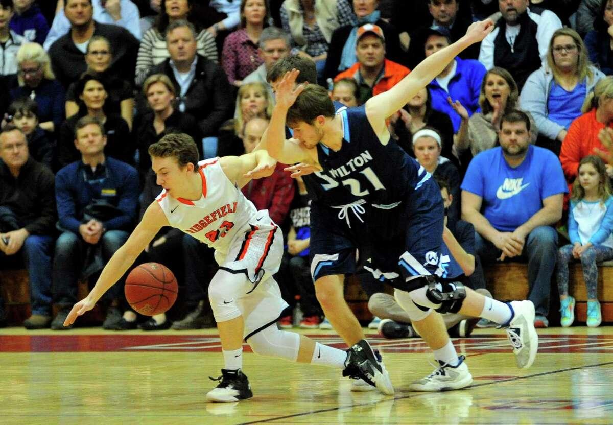 FCIAC Boys Basketball Championship action between Wilton and Ridgefield at Fairfield University's Alumni Hall in Fairfield, Conn., on Thursday Mar. 2, 2017.