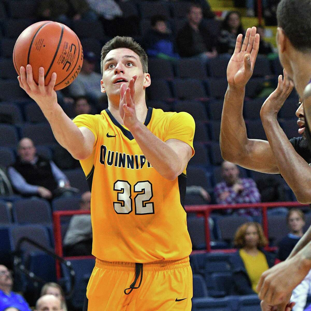 Quinnipiac's #32 Peter Kiss shoots during their first round MACC tourney game against Niagara at the Times Union Center Thursday March 2, 2017 in Albany, NY. (John Carl D'Annibale / Times Union)