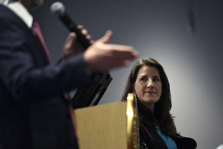 Assemblywoman Catharine Baker listens to state Sen. Steve Glazer at the town hall. Photo: Michael Short, Special To The Chronicle