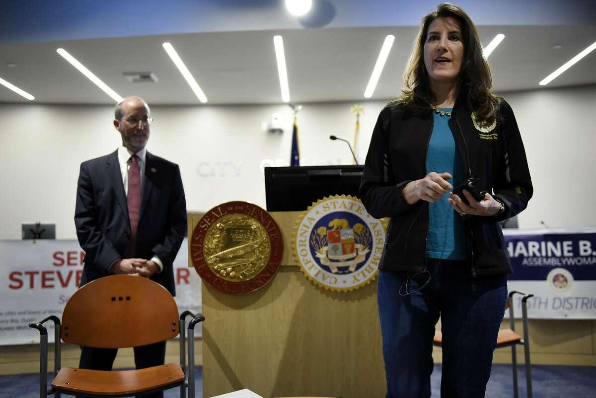 Assemblywoman Catharine Baker, R-San Ramon, right, speaks alongside Senator Steve Glazer, D-Orinda, during a joint town hall meeting held at City Hall in San Ramon, CA, on Thursday March 2, 2017.