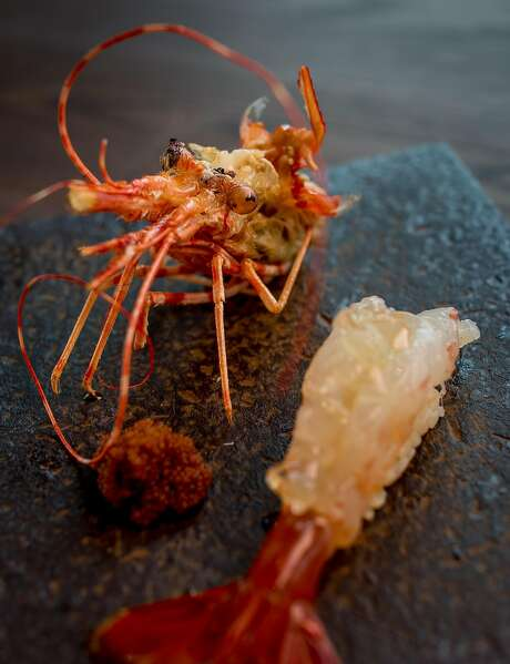 Spot prawn at Kinjo in S.F.: The head (left) and tail. Photo: John Storey, Special To The Chronicle