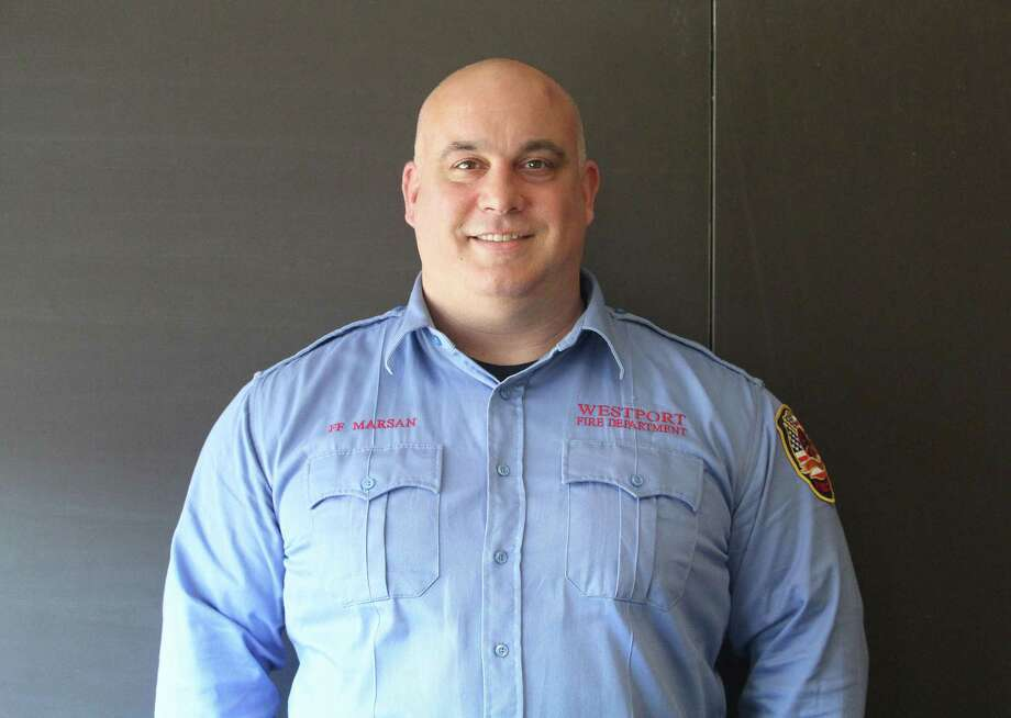Newly promoted Fire Inspector Nick Marsan at fire headquarters in Westport. Photo: Laura Weiss / Hearst Connecticut Media / Westport News
