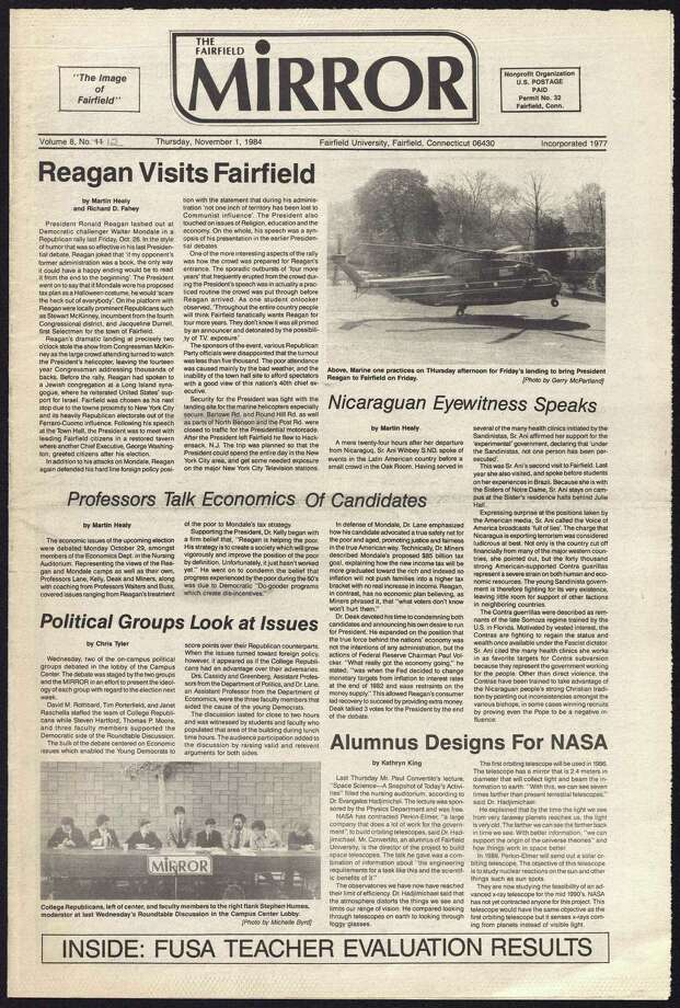 "The front page of ""The Mirror"" on Nov. 1, 1984. Photo: Fairfield University Archives / Contributed Photo / Fairfield Citizen"