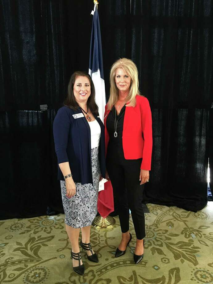 Texas Federation of Republican Women President Theresa Kosmoski, left, is pictured with North Shore Republican Women President Stephanie Collins at the NSRW March 1 meeting.