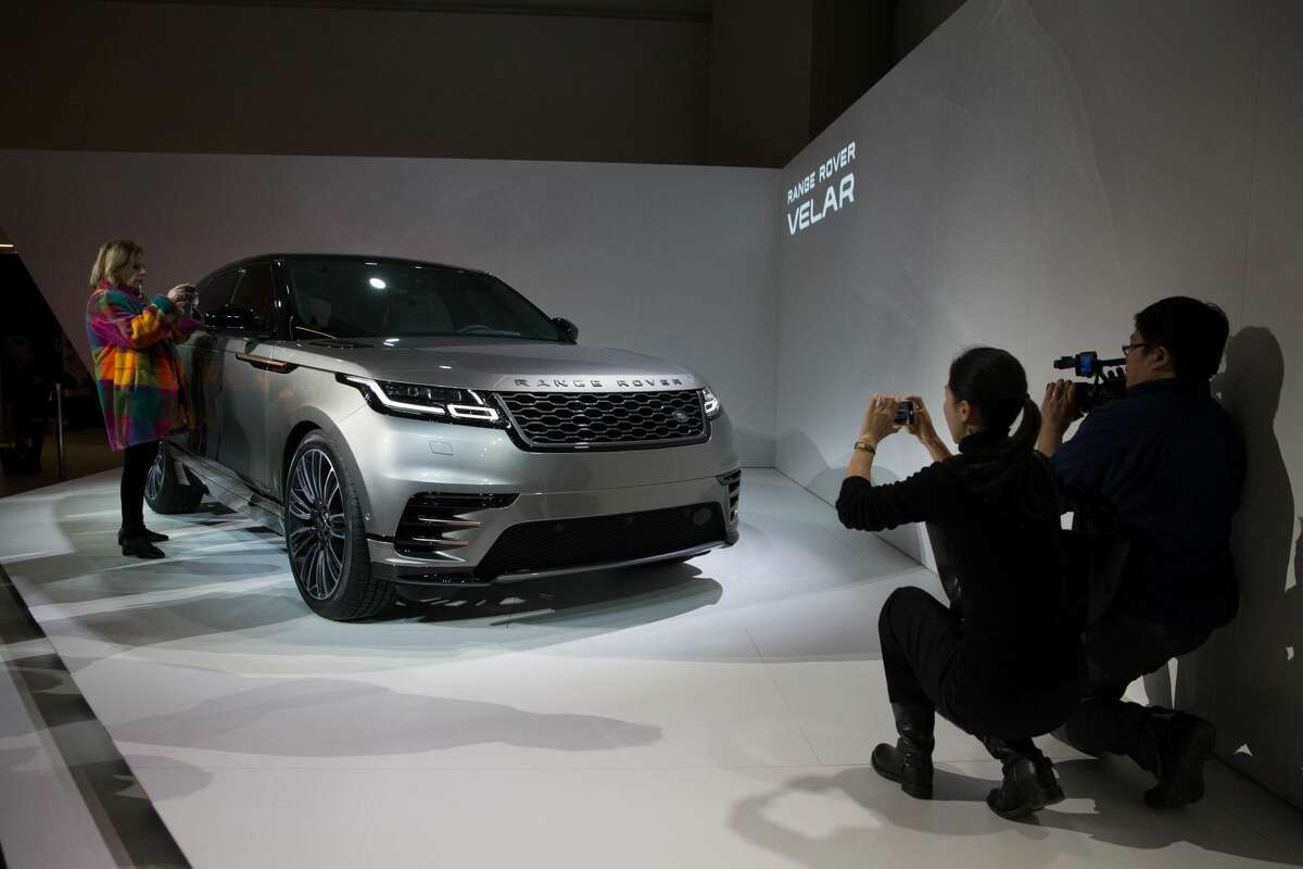 The new Range Rover Velar is pictured during its unveiling at the London Design Museum in London on March 1, 2017.