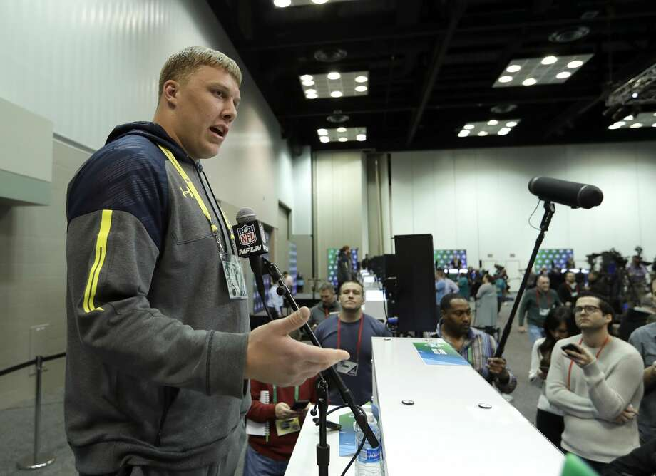 Utah offensive lineman Garett Bolles speaks during a news conference at the NFL football scouting combine Thursday, March 2, 2017, in Indianapolis. (AP Photo/David J. Phillip) Photo: David J. Phillip/Associated Press