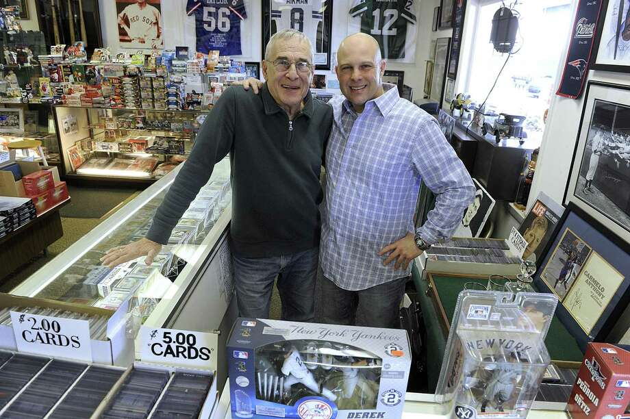 Tommy Balash Jr., 76, and his son Anthony, 42, of Brookfield, own and operate Remember When, a sports memoribilia business in Brookfield. Photo Tuesday, Feb. 28, 2017. Photo: Carol Kaliff / Hearst Connecticut Media / The News-Times