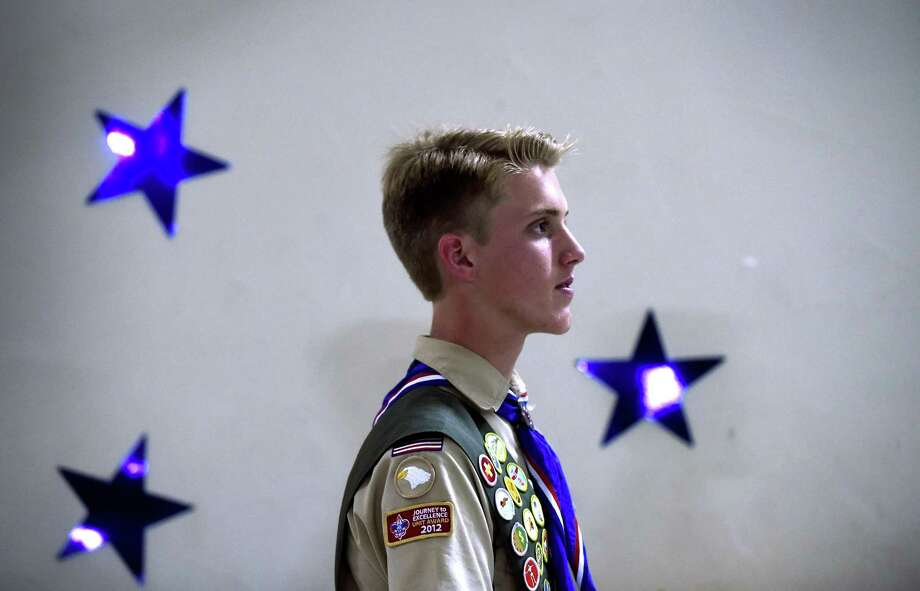Eagle Scout Hunter Beaton gathers his thoughts as he prepares to speak at the Blue and Gold Banquet at St. Peter the Apostle Catholic Church in Boerne on Saturday, Feb. 18, 2017.  Hunter's Eagle Scout project involved providing duffle bags to foster children, who often have to move their belongings in trash bags. Photo: Billy Calzada, Staff / San Antonio Express-News / San Antonio Express-News