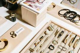 """The Soko showroom in San Francisco on March 2nd, 2017. Soko is a new """"ethical fast fashion"""" jewelry line that connects 2500 artisans in Kenya with clients like Nordstrom using the power of the mobile phone. The founders also have relationships with artisans in Uganda, and are working to form partnerships in India."""