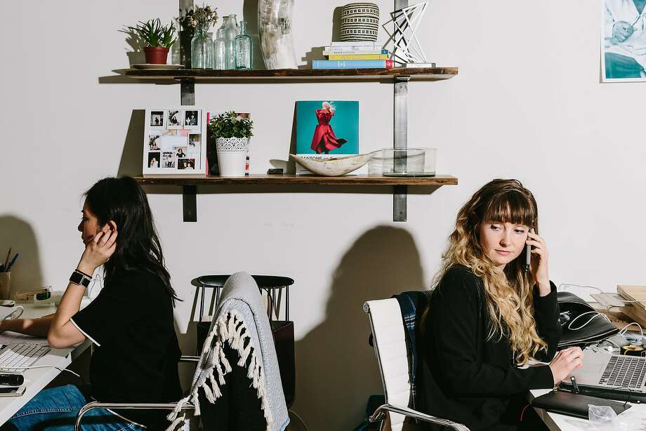 Gwendolyn Floyd (right) works at Soko's office on Potrero Hill. Floyd, a former industrial designer, designs all of the jewelry. Photo: Peter Prato, Special To The Chronicle