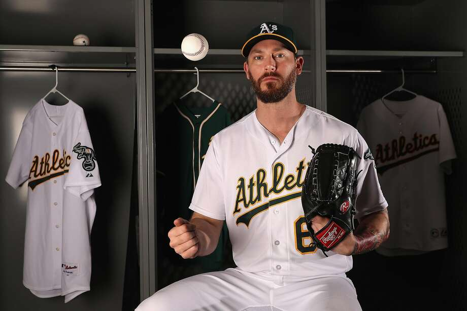 MESA, AZ - FEBRUARY 22:  Pitcher John Axford #61 of the Oakland Athletics poses for a portrait during photo day at HoHoKam Stadium on February 22, 2017 in Mesa, Arizona.  (Photo by Christian Petersen/Getty Images) Photo: Christian Petersen, Getty Images