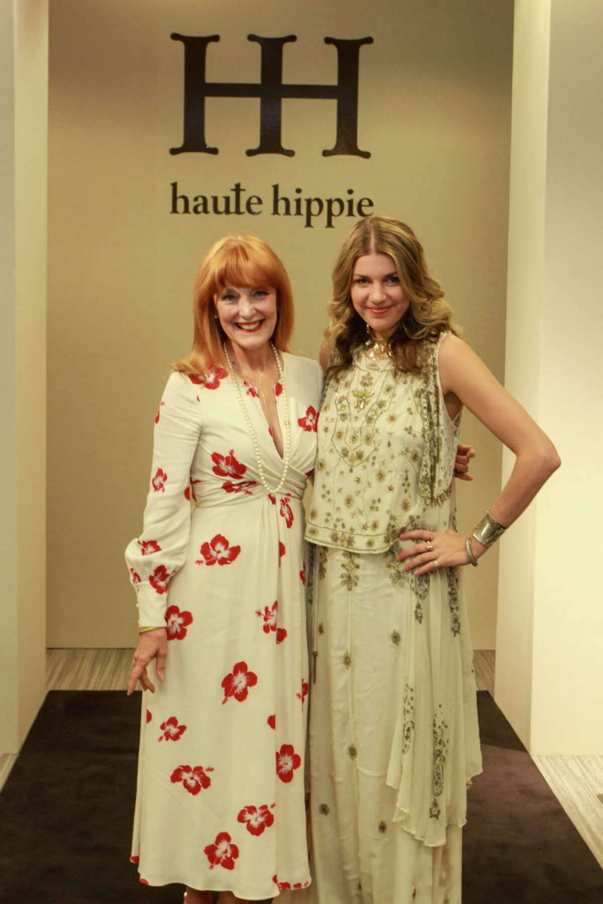 Founder Gracie Cavnar, left, with designer Cady Vaccaro at Dress for Dinner event at Neiman Marcus. (For the Chronicle/Gary Fountain, March 2, 2017)