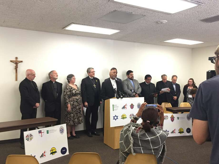 The group includes rabbis and bishops and pastors from Catholic, Methodist, Lutheran, Presbyterian and Episcopal congregations. Photo: Marialuisa Rincon