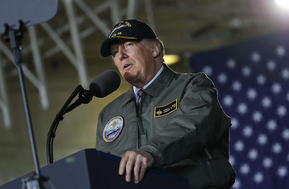 President Donald Trump reads from a teleprompter during a speech aboard the nuclear aircraft carrier Gerald R. Ford, at Newport News Shipbuilding in Newport News, Va., Thursday, March 2, 2017. Trump traveled to Virginia to meet with sailors and shipbuilders on aircraft carrier which is scheduled to be commissioned this year after cost overruns and delays. (AP Photo/Pablo Martinez Monsivais)
