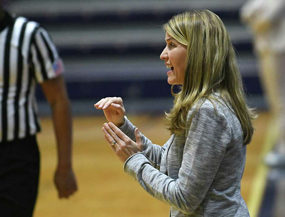 University at Albany Head Coach Joanna Bernabei-McNamee is seen on the sideline during a basketball game against UMass Lowell at the SEFCU Arena on Wednesday, Jan. 4, 2017 in Albany, N.Y. (Lori Van Buren / Times Union) Photo: Lori Van Buren / 20039284A