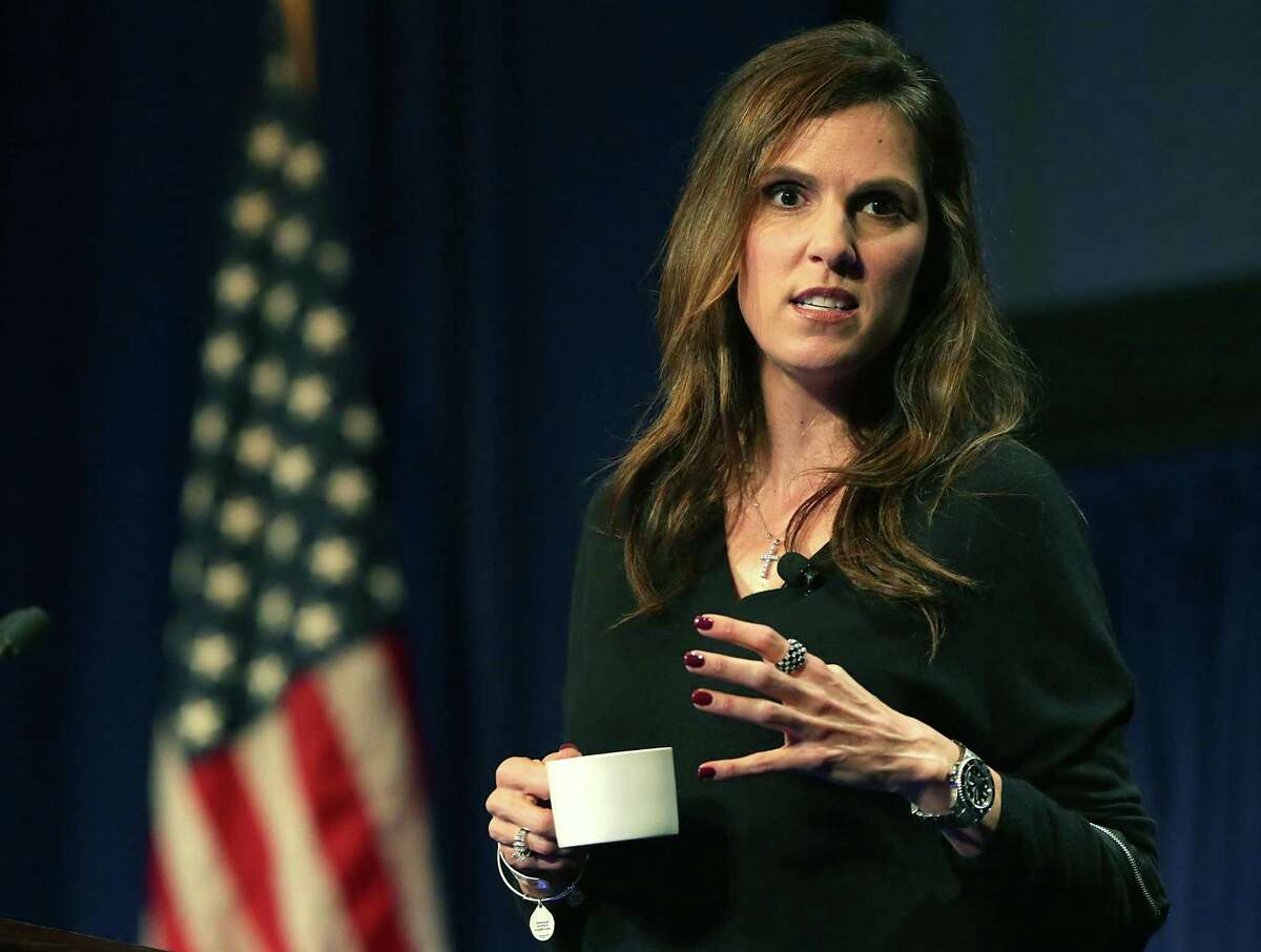 Taya Kyle, the wife of the late Navy SEAL marksman Chris Kyle, gives the keynote address focusing on family and patriotism at the DUG Eagle Ford Conference Luncheon at the Henry B. Gonzalez Convention Center on Monday, Oct. 26, 2015.