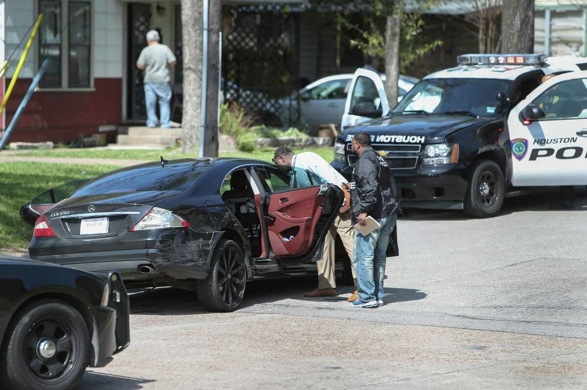 Suspected bank robbers in a black Mercedes sedan led police on a high-speed chase across Houston highways and through some neighborhoods Friday, March 3, 2017, in Houston. About 11:15 a.m. two suspects bailed from the sedan on Styers Street, near the Loop 610 interchange with the North Freeway. The chase ended at the junction of Enid, Amasa and Melbourne streets and the North Freeway feeder by Lindale Church of Christ.