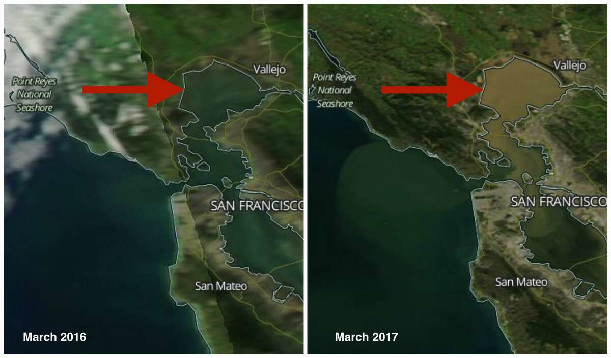 San Francisco Bay: Before and after 2017 storms March 2016: San Francisco Bay appears emerald green in a year with a mild winter when the rivers deposited average to below-normal amounts of sediment into the Bay. March 2017: San Francisco Bay resembles the muddy Mississippi River after nonstop storms slammed Northern California and rivers swelled and carried large amounts of sediment in the Bay.