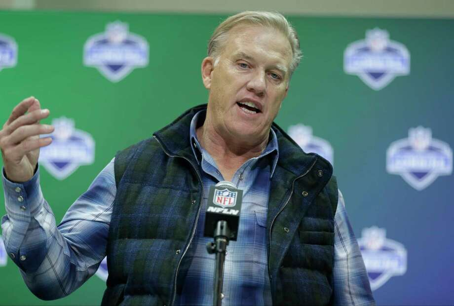 Denver Broncos general manager John Elway speaks during a press conference at the NFL Combine in Indianapolis, Wednesday, March 1, 2017. (AP Photo/Michael Conroy) Photo: Associated Press / Copyright 2017 The Associated Press. All rights reserved.