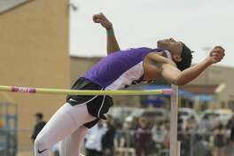 Midland High's Darius Manning competes Friday 03-03-17 in the high jump at the Tall City Relays at Memorial Stadium. Tim Fischer/Reporter-Telegram