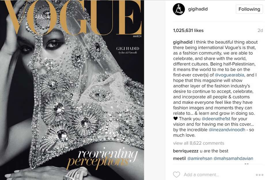 Gigi Hadid, a 21-year-old American model whose father is Palestinian, landed the cover of the first issue of Vogue Arabia.Photo: Instagram Photo: Instagram
